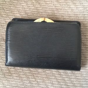 LV French black epi leather wallet